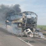 На трасі Одеса-Київ ущент згорів автобус. Поліція проводить перевірку